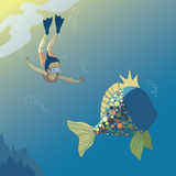 Girl and Fish. Little diving girl and big fish Stock Photo
