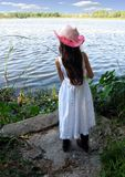 Girl Fishing. Priginal image of a young girl fishing stock photos