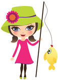 Girl fishing Stock Images