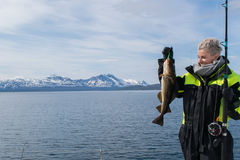 Girl fishing in the artic Royalty Free Stock Image