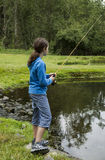 Girl Fishing Lake Royalty Free Stock Image