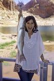Girl fishing at lake powell. Young woman fishing at Lake Powell, Utah Royalty Free Stock Photos