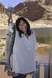 Girl fishing at lake powell Stock Photography
