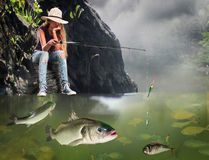 Girl fishing morning with lot of big fishes. Stock Photography