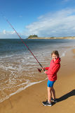 Girl Fishing - Newcastle Harbour - New South Wales - Australia Stock Image