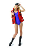 Girl in a fishing outfit Royalty Free Stock Images