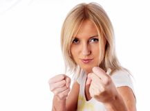 Girl with fists Stock Photo