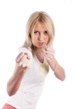 Girl with fists Stock Photos