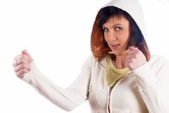 Girl with fists Royalty Free Stock Image