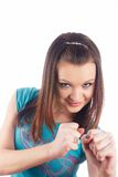 Girl with fists Stock Image