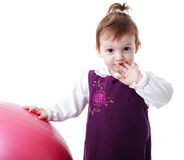Girl and fitball Stock Images