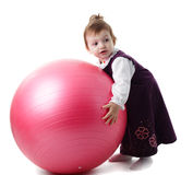 Girl and fitball Royalty Free Stock Photography