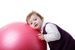 Girl and fitball Royalty Free Stock Photo