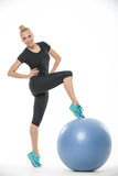 Girl with fitball Stock Images