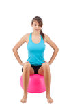 Girl with fitness ball Stock Photography