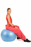 Girl on fitness ball Stock Images