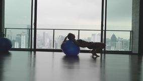 Girl with fitness ball. Silhouette of gorgeous girl with fitness or pilates ball in gym with view over cittyscape in slow motion stock video footage