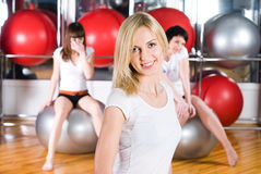 Girl in fitness center Royalty Free Stock Photography