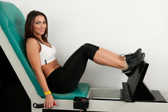 Girl in fitness club Royalty Free Stock Image