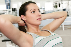 Girl in fitness club Royalty Free Stock Photo