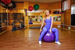 Girl in fitness with fitball Royalty Free Stock Images