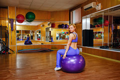 Girl in fitness with fitball Stock Image