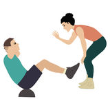 Girl fitness instructor holds training session man shakes the press insulated by on white background vector illustration. Girl fitness instructor holds training Royalty Free Stock Images