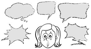 Girl with five speech bubble templates Stock Photos