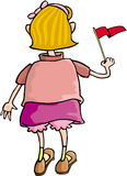 Girl with Flag. Cartoon artwork line-art stock illustration