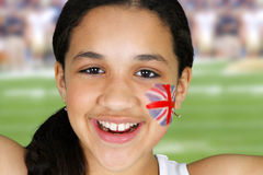 Girl With Flag Stock Photo