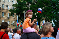 Girl with flag in celebration of independence Day of Russia in Volgograd Royalty Free Stock Photography