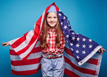 Girl with flag Stock Photos
