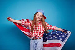 Girl and flag Stock Photos