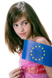 Girl and flag Europe Royalty Free Stock Photo