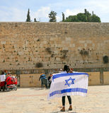 A Girl With An Israeli Flag At The Kotel Stock Photos