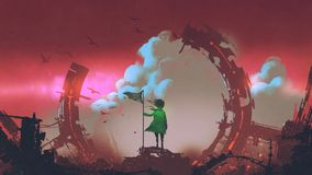 Girl with flag standing on ruins of city. A girl with flag standing on ruins of city looking at clouds in the red sky, digital art style, illustration painting Royalty Free Stock Images