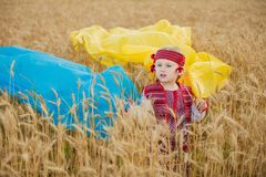 Girl with a flag of Ukraine. On a wheat field stock photo
