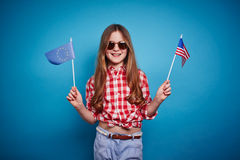 Girl and flags Stock Photo