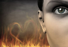 Girl and flame. Symbolism. Girl& x27;s face, flames in shape of heart on a background. 3D Human elements Royalty Free Stock Photos