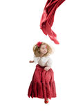 Girl in flamenco skirt jumping Stock Image