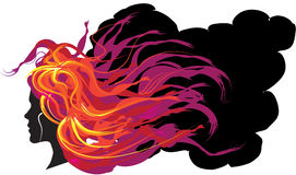 Girl with flaming hair. Sillhouette of a girl with flaming hair Royalty Free Stock Photo