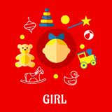 Girl flat concept Stock Photography