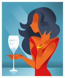 Girl in a flat style with a glass of champagne Royalty Free Stock Image