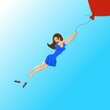 Girl flies. vector illustration