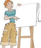 Girl and a flip chart. Girl wearing casual clothes in front a flip chart Stock Image