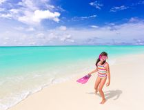 Girl with flippers on beach Stock Photography