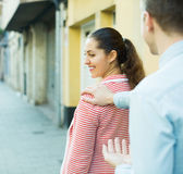 Girl flirting with hadsome guy Royalty Free Stock Photo