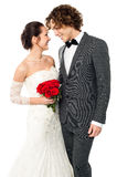 Girl flirting with her guy, wedding concept. Royalty Free Stock Photo