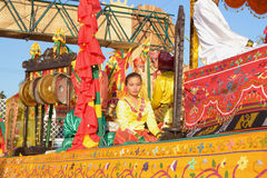 Girl-in-float. MANILA, PHILIPPINES - APR. 14: parade contestant in her cultural dress pauses during Aliwan Fiesta, which is the biggest annual national festival Royalty Free Stock Photography