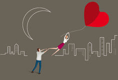 Girl floating away holding a balloon heart. Illustration of girl floating away from her partner holding a balloon shaped like a heart Royalty Free Stock Image